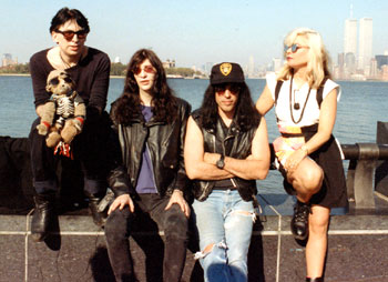 Liberty Island, New York, USA 03.10.90 (Chris Stein, Joey Ramone, Marky Ramone, Debbie Harry)