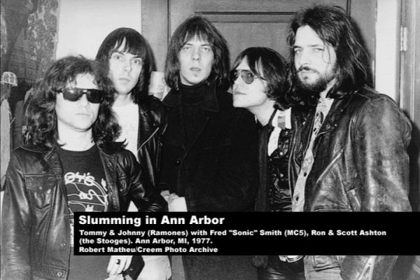 "Ann Arbor, USA 1977 (Tommy Ramone, Johnny Ramone, Fred ""Sonic"" Smith, Ron & Scott Ashton)"
